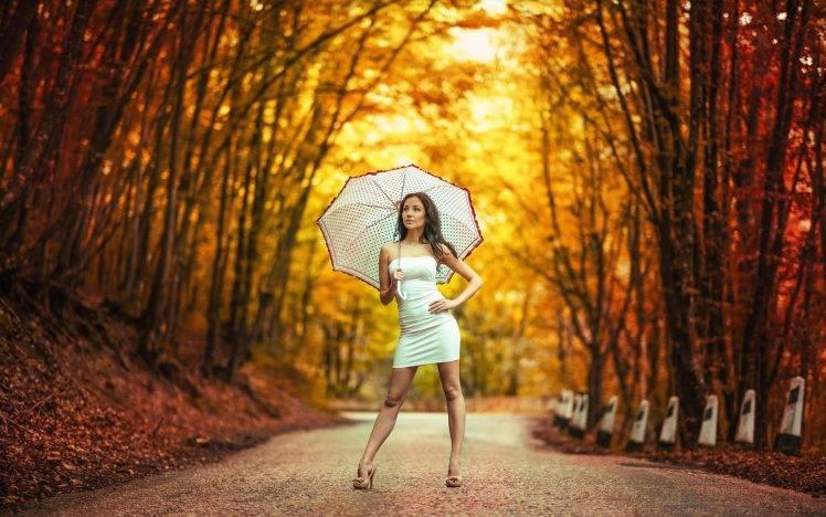 Fall Leaves Desktop Wallpaper Backgrouns Women Model Long Hair Women Outdoors Trees White Dress