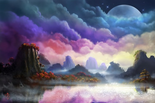 Moon Landscape Painting Wallpapers Hd Desktop And