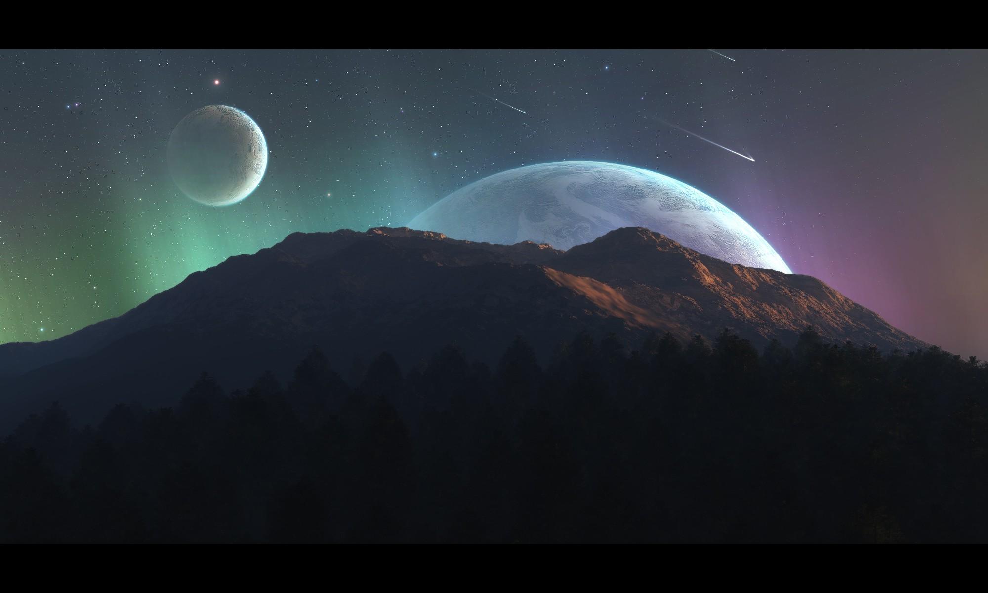 3d Home Wallpaper For Pc Digital Art Space Art Planet Landscape Wallpapers Hd