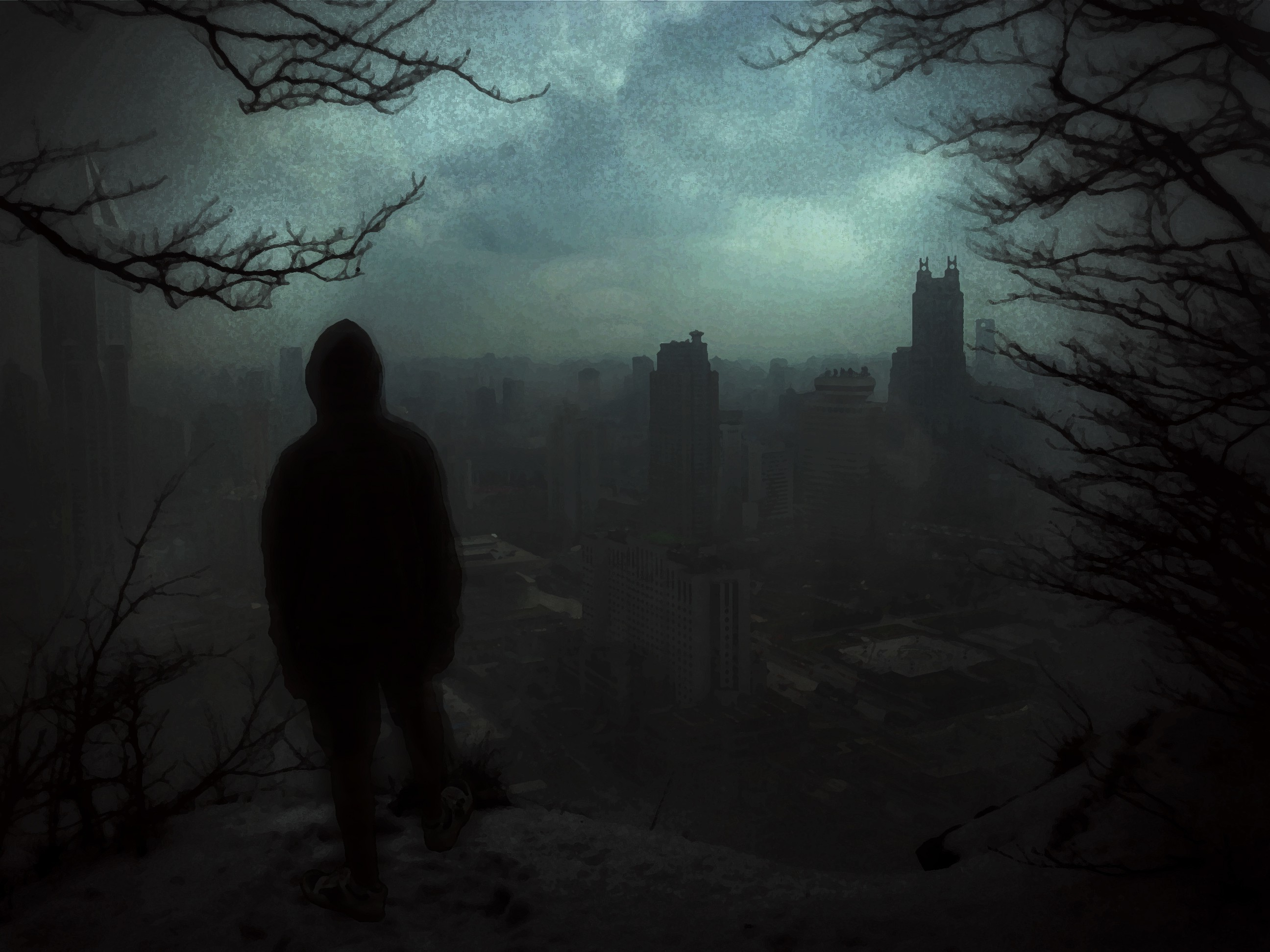 Sadness Wallpaper With Quotes Shanghai Rear View Dark Alone Trees Forest Nightmare
