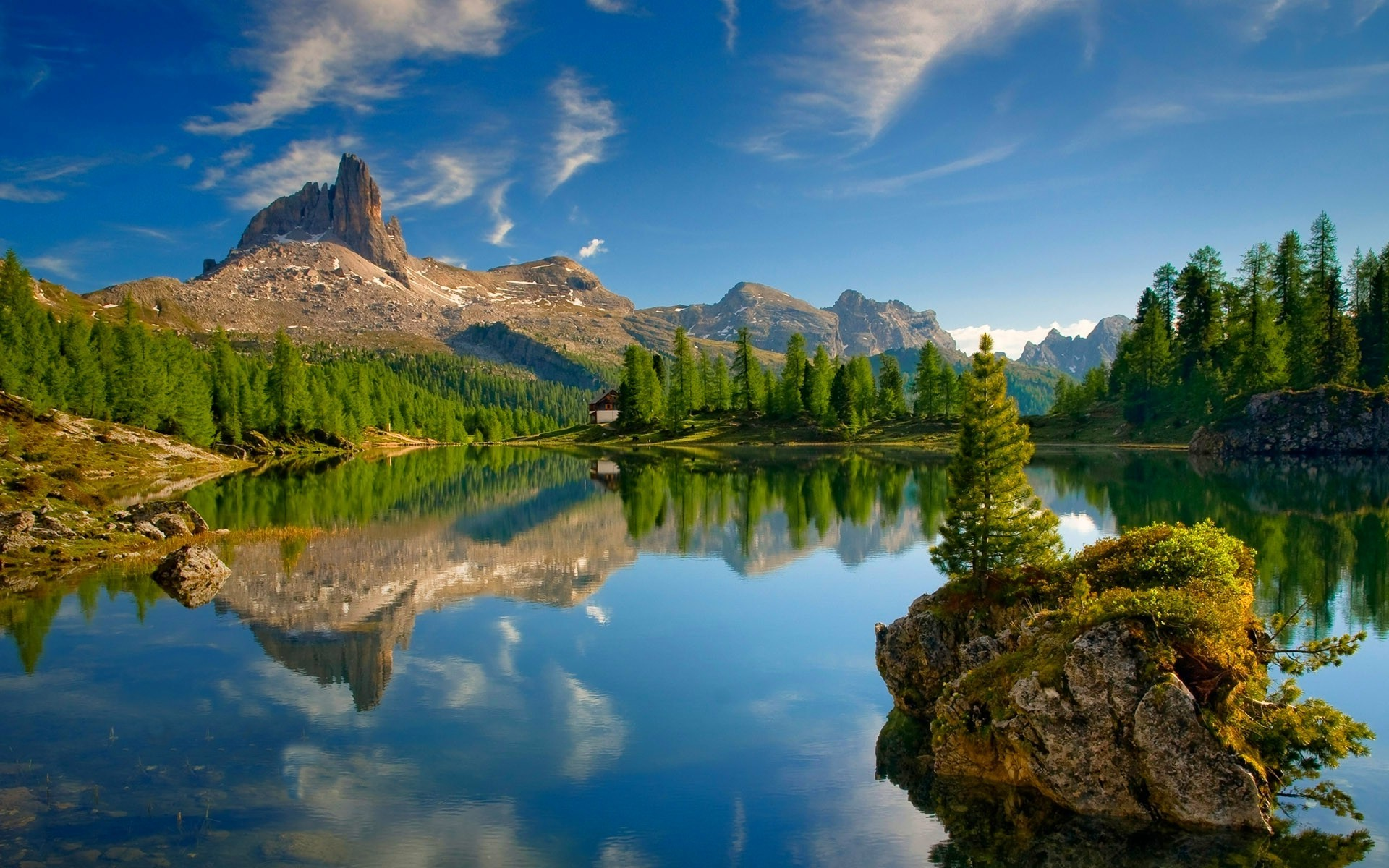 lake Dolomites mountains Forest Mountains Reflection Alps Summer Trees Cabin Nature