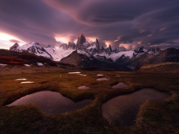 Fitz Roy Mountain Clouds Snowy Peak Patagonia Chile