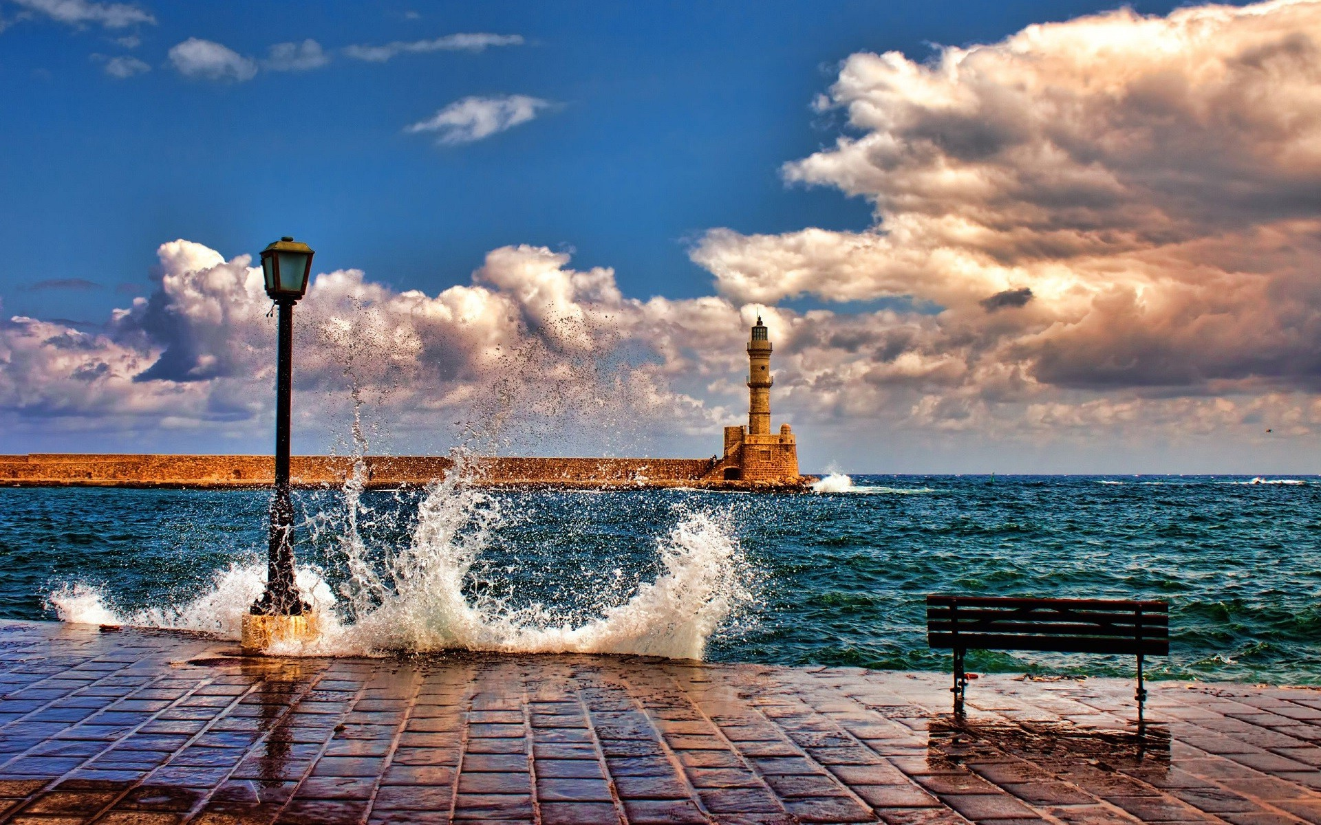 Nice Anime Wallpaper Nature Architecture Landscape Sea Waves Lighthouse