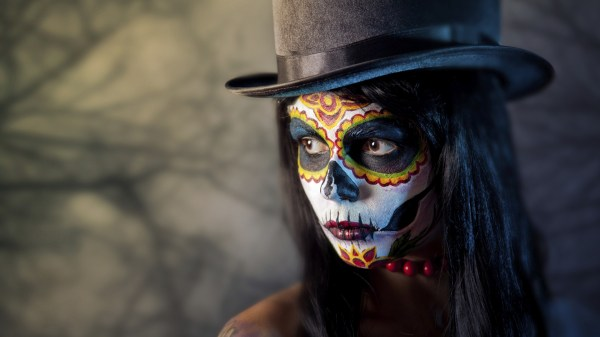 Women Face Artwork Sugar Skull Top Hat