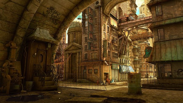 Medieval Steampunk City Concept Art