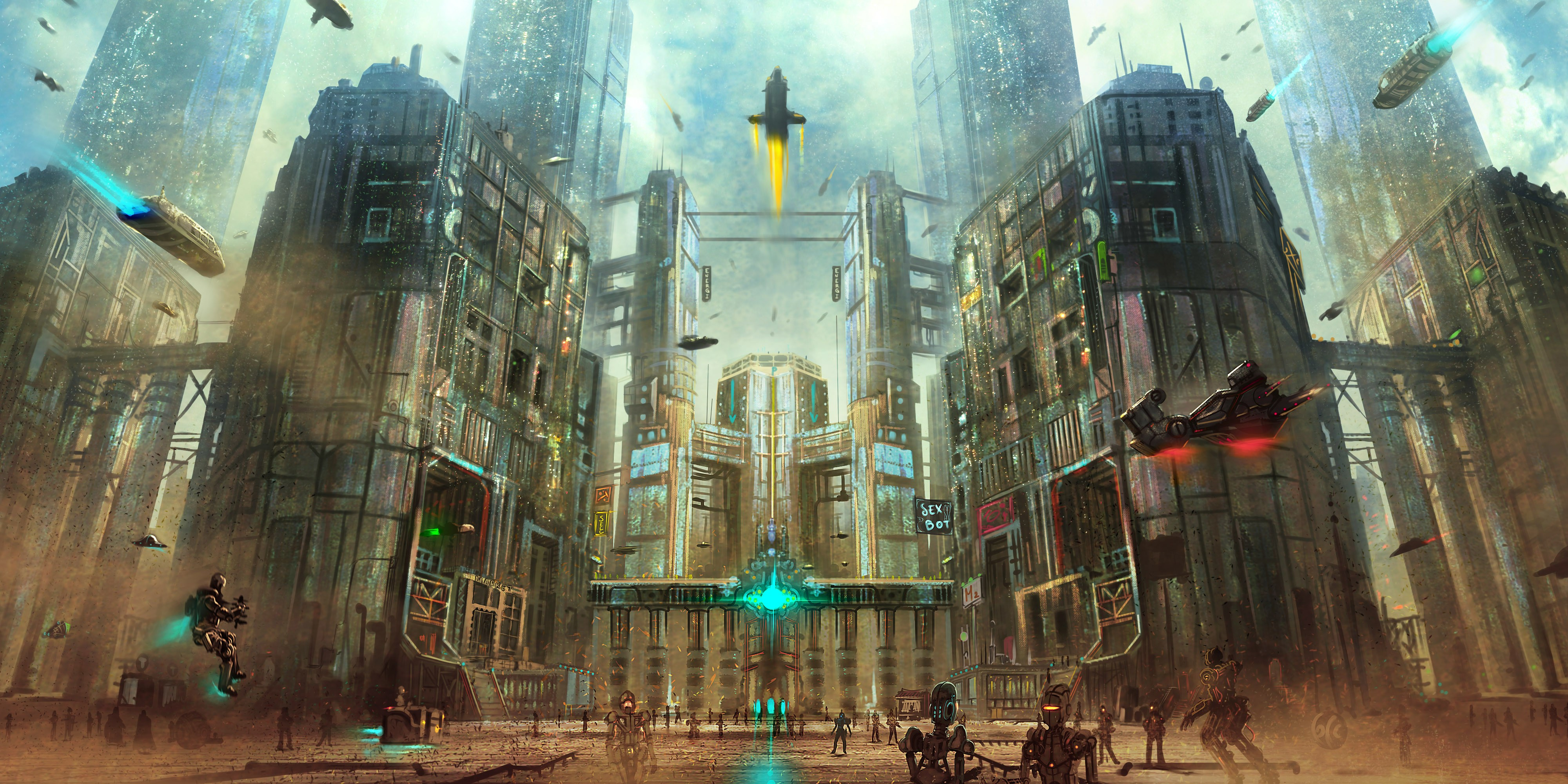 artwork robot city futuristic spaceship wallpapers hd desktop and mobile backgrounds