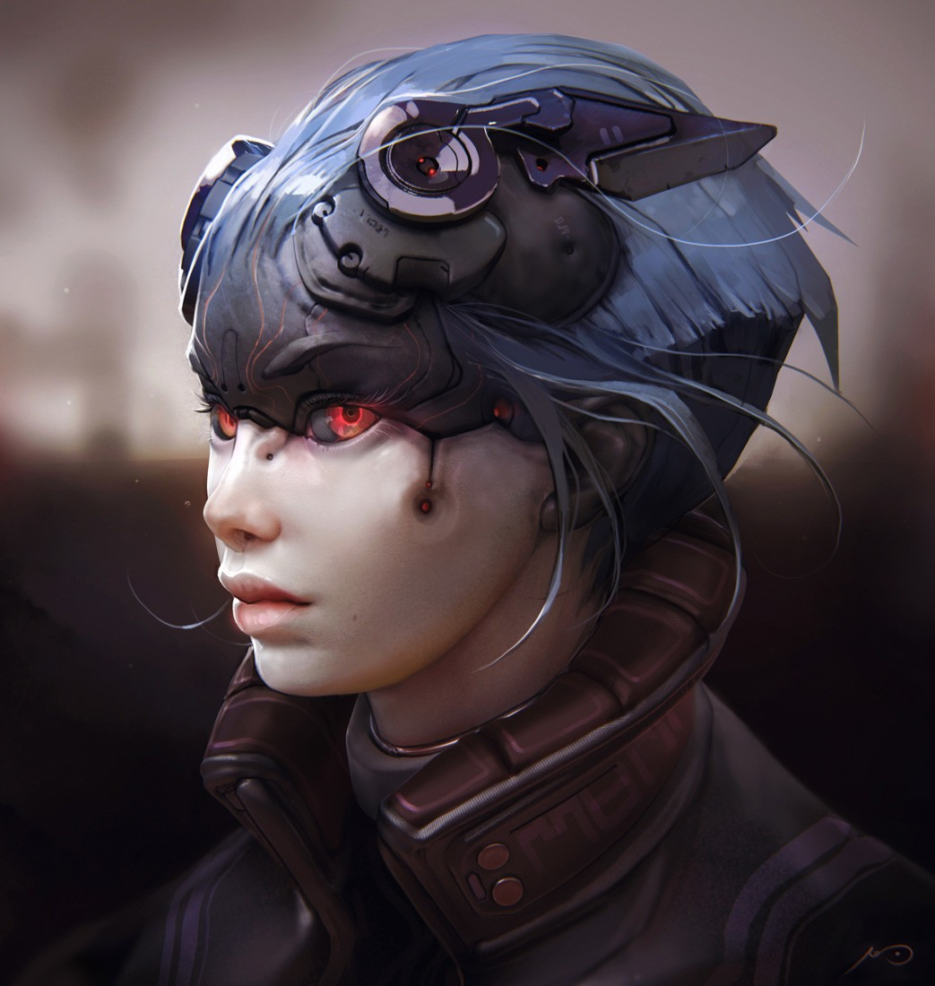 Futuristic Soldier Girl Wallpaper Red Eyes Face Artwork Robot Science Fiction