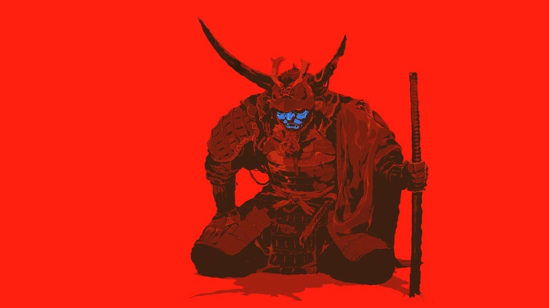 minimalism, artwork, simple background, samurai, sword wallpapers