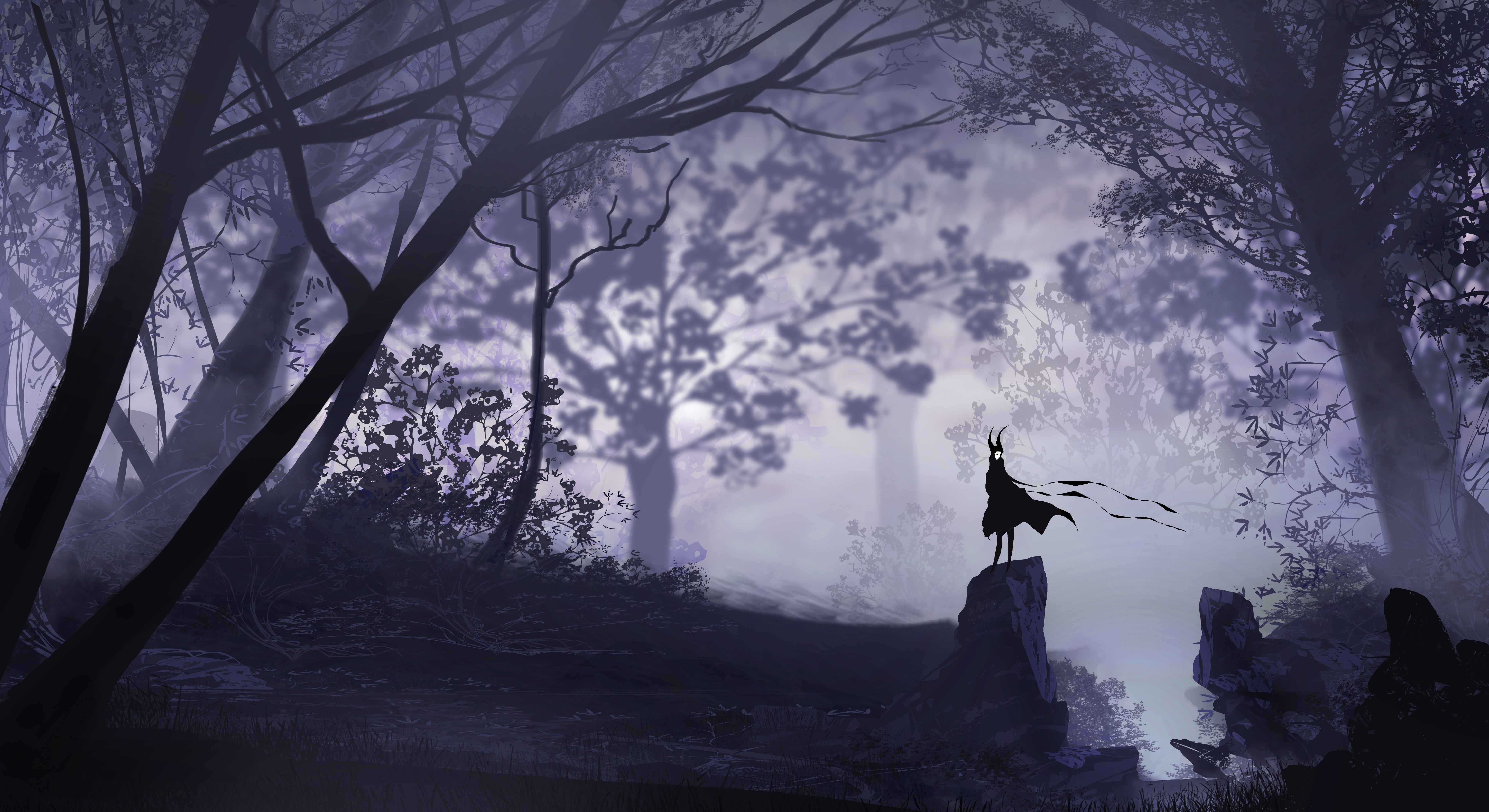 Anime Girl Walking On Moon Wallpaper Dark Forest Vectors Wallpapers Hd Desktop And Mobile