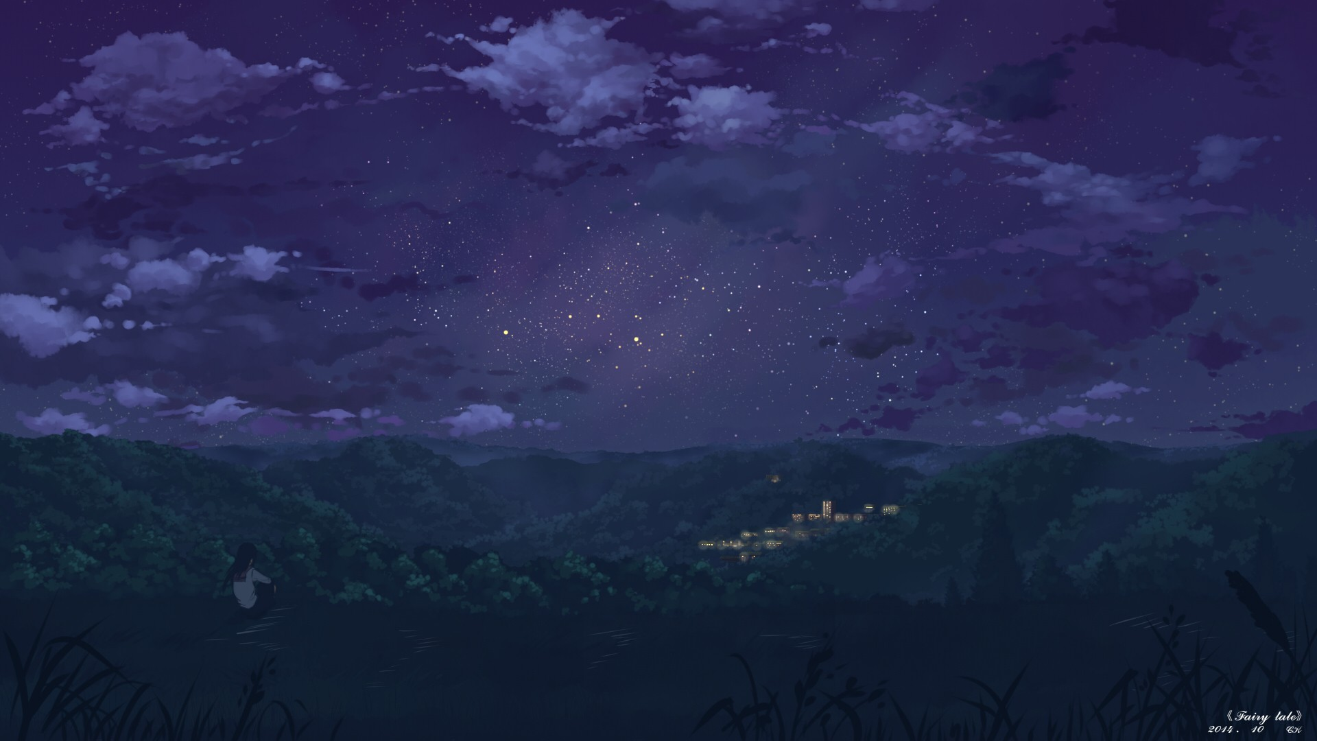 Free Download Emo Girl Wallpapers For Mobile Anime Night Landscape Stars Wallpapers Hd Desktop And