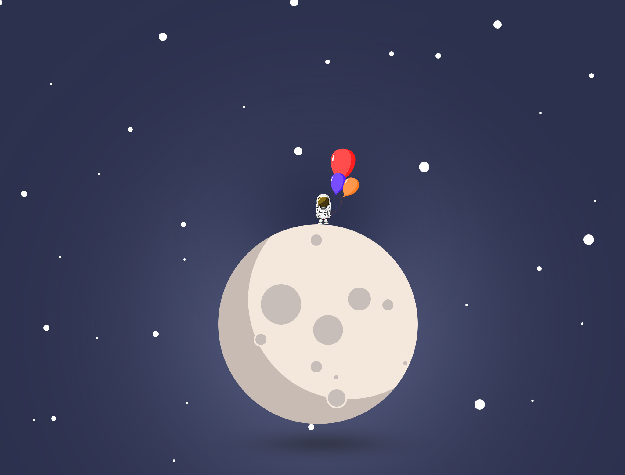 Minimalist Cute Mobile Wallpaper Astronaut Space Illustration Blue Moon White Ball