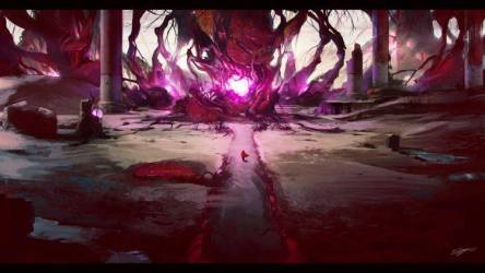 purple forest magic fantasy ruins wallpapers background abstract sci fi artwork hd artistic desktop backgrounds heart tags px ruin chevron