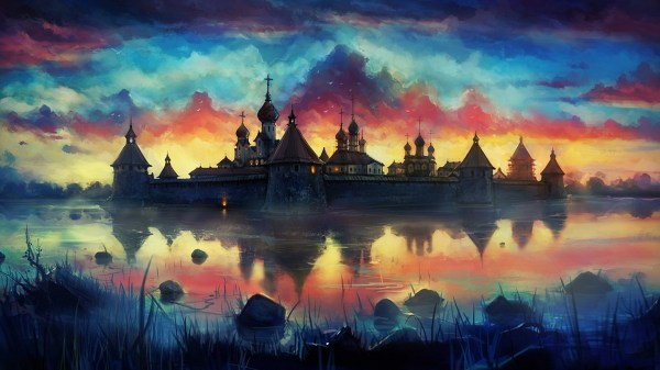 Drawing Painting Monastery Reflection Clouds Colorful Wallpapers Hd Desktop And Mobile