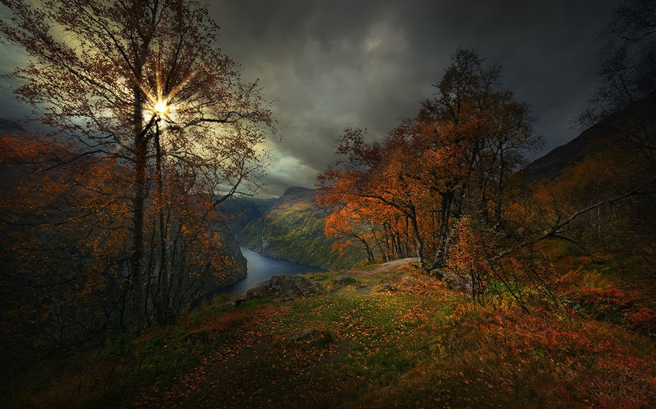 Dark Fall Wallpaper Nature Landscape Photography Geiranger Fjord Fall