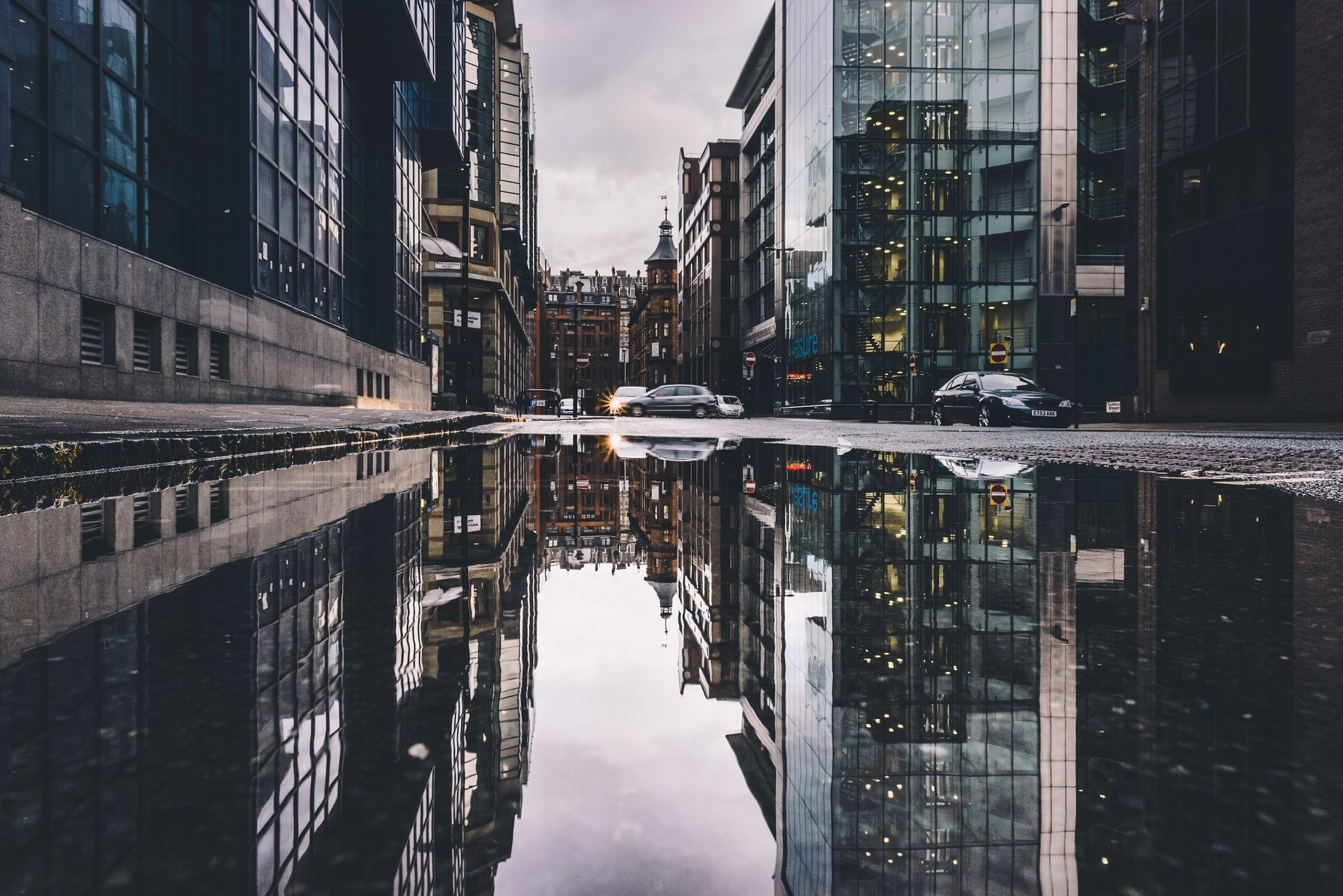 Vintage Car Hd Wallpapers For Pc Urban Cityscape Reflection Car Building City Street