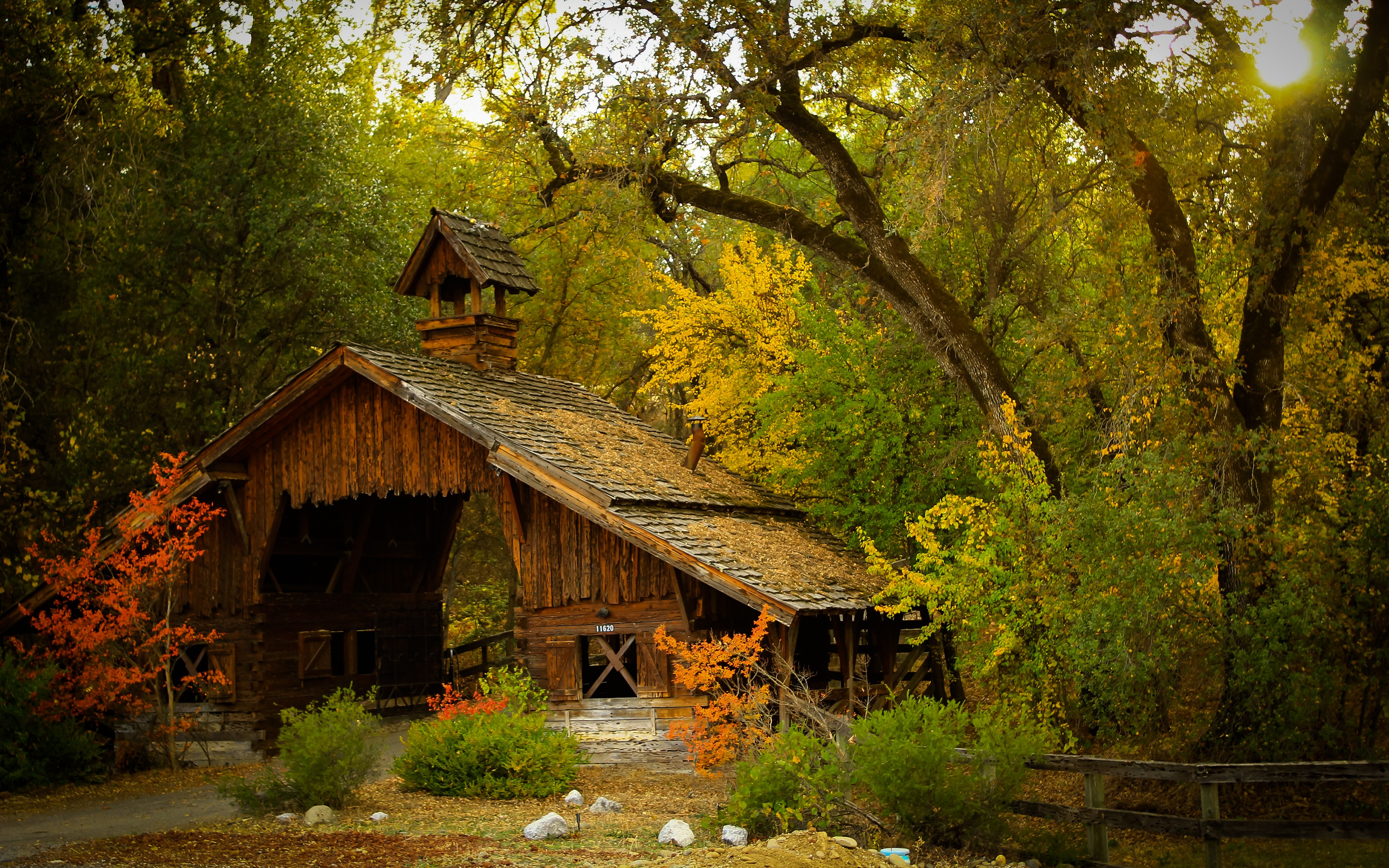 Fall Cabin Wallpaper Nature Photography Landscape Barn Hut Forest Fence