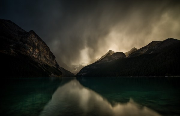 Landscape Nature Lake Mountains Dark Clouds Reflection Storm Louise