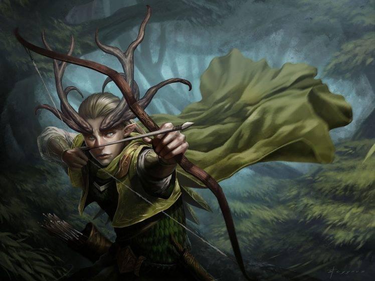 elves Archer Fantasy art Horns Bow Wallpapers HD