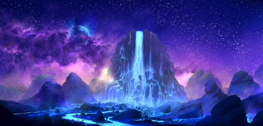 fantasy space colorful waterfall hd wallpapers sky digital planet purple mondes imaginaires pink painting toth lorant dessin fantasi anime artist