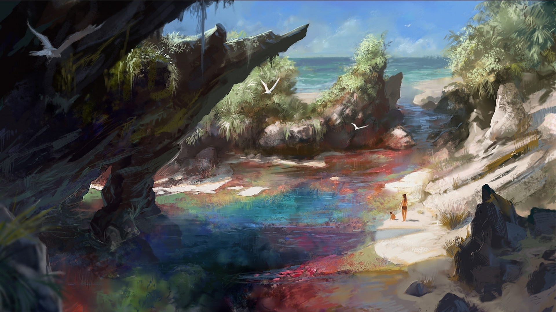 Epic 3d Movie Wallpapers Artwork Fantasy Art Beach Colorful Sea Nature