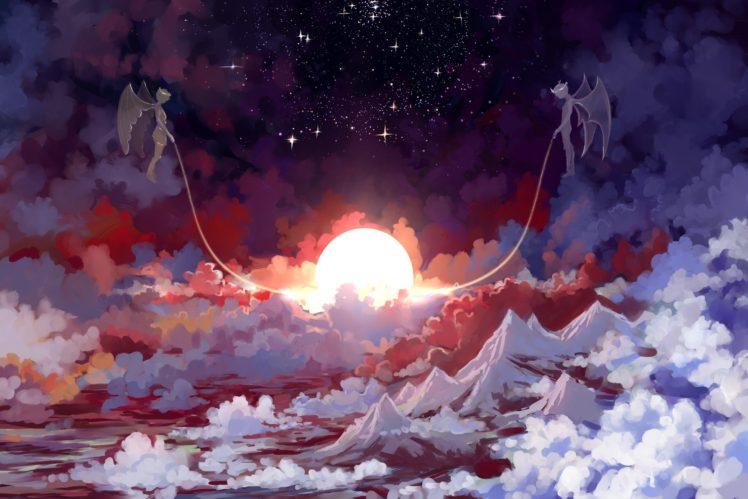 Pretty Anime Falling Angel Wallpapers 1920x1080 Hd Stars Sun Artwork Fantasy Art Angel Demon Wallpapers