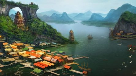 village painting nature lake fantasy asian tower artwork rooftops architecture building digital pier mountains trees ship hd background birds desktop