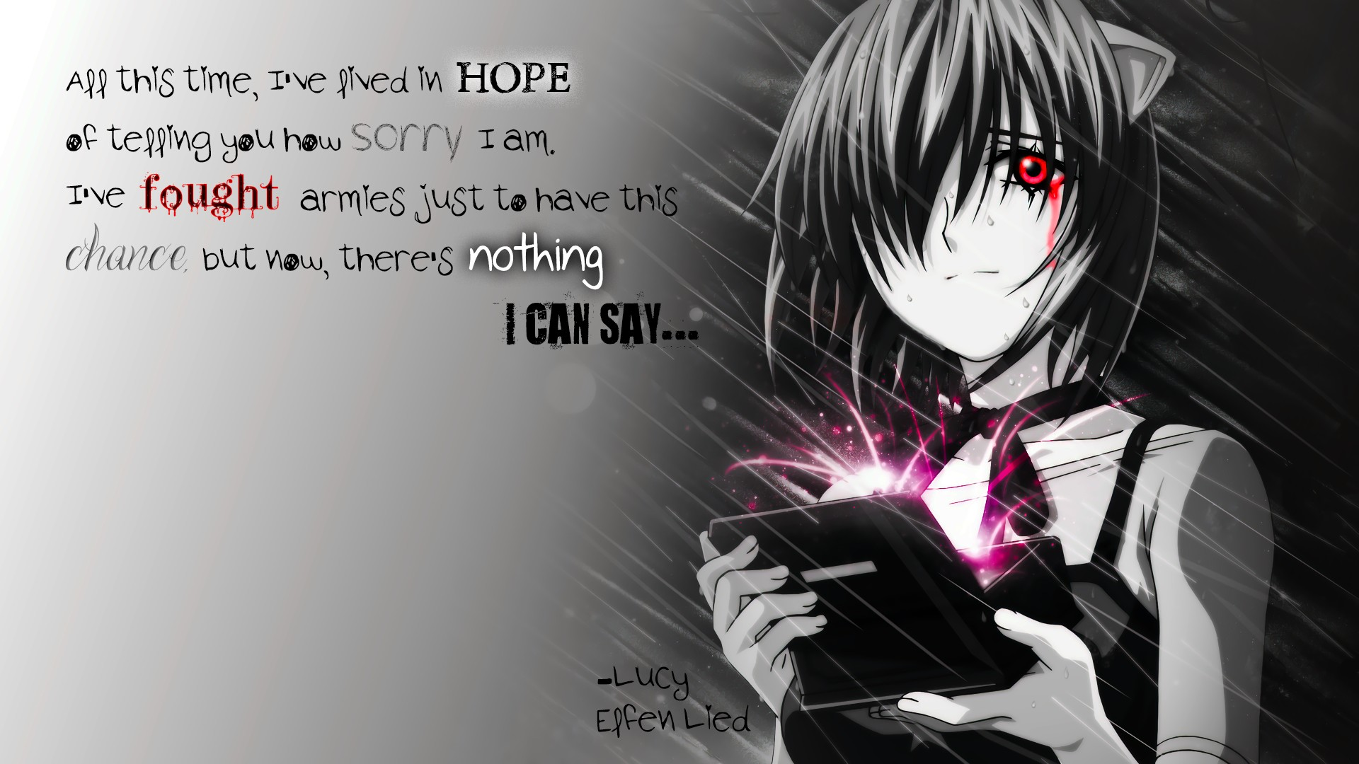 Wallpaper Of Sad Girl With Quotes Elfen Lied Quote Lucy Elfen Lied Wallpapers Hd