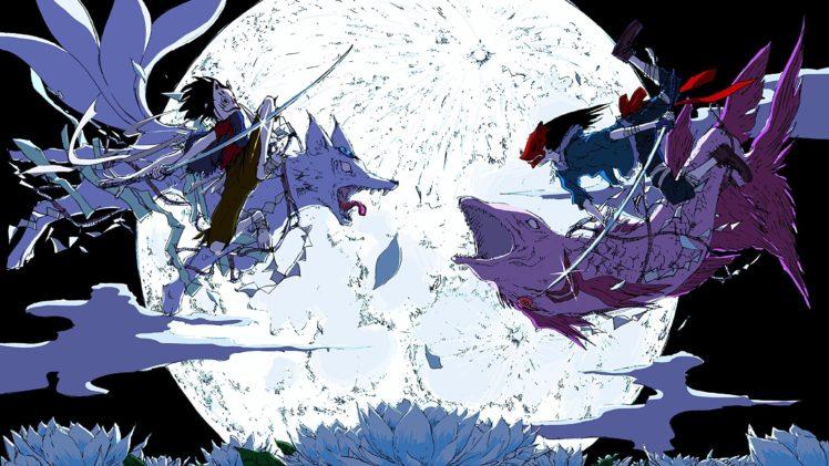 Anime Koi Fish Girl Wallpaper Anime Anime Boys Moon Mask Sword Wolf Fish Fighting