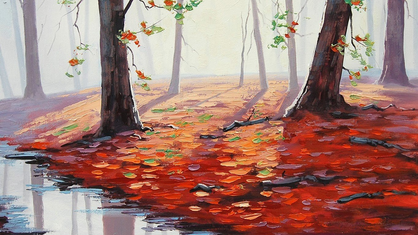 Full Screen Desktop Fall Leaves Wallpaper Graham Gercken Painting Fall Puddle Leaves Trees