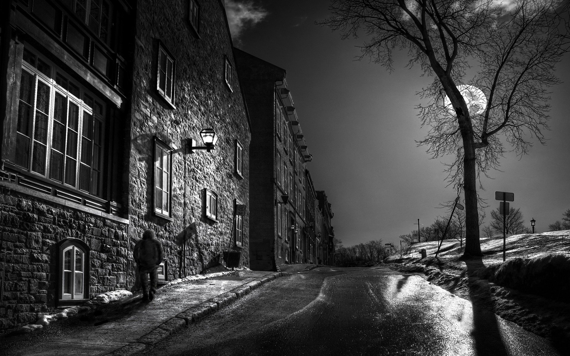 Foreign Girls Wallpaper Moon Trees Street Night Architecture Old Building
