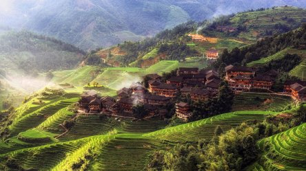 china village hill town landscape asia yangshuo mountain morning nature rice field trees tian county hd mountains forest tou terraced