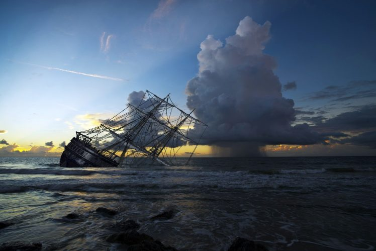 sky Horizon Sea Sailing ship Sinking ships Digital