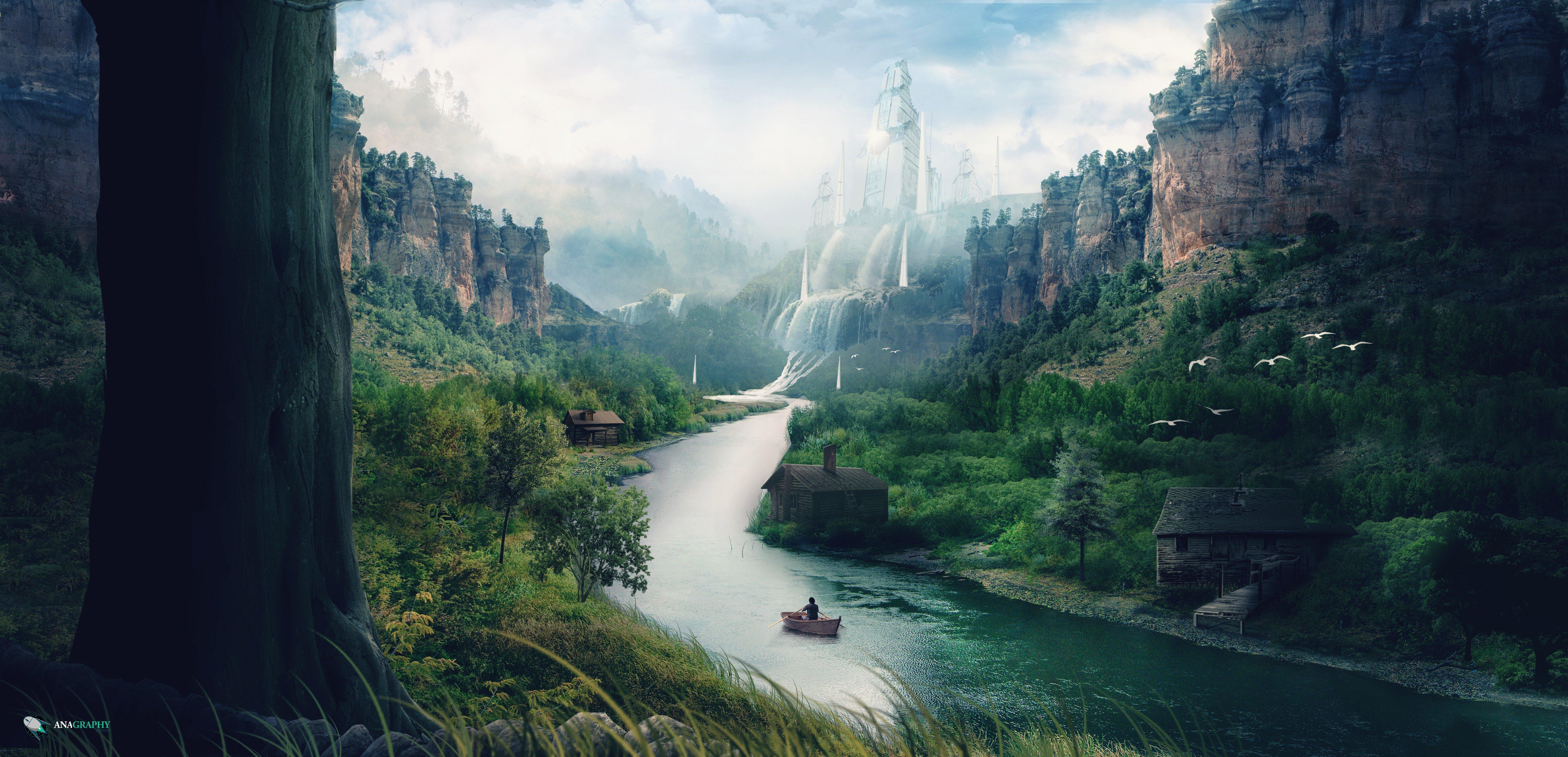Free Fall Wallpapers Desktop Landscape River Mountains Stream Waterfall Boat
