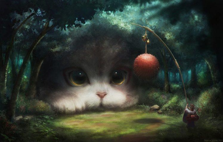 artwork Digital art Fantasy art Cat Wallpapers HD