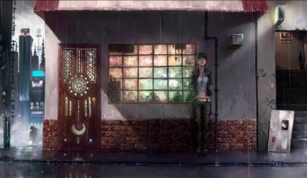 anime girls Rain City Drawing Women House Original characters Door Anime Manga Bricks Wallpapers HD / Desktop and Mobile Backgrounds