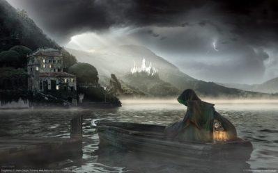 dark Horror Fantasy Gothic Castle Lamp Reaper Boat Landscapes Wallpapers HD / Desktop and Mobile Backgrounds