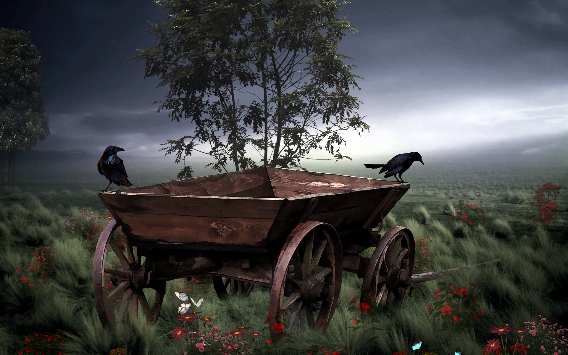 Vintage Car Hd Wallpapers For Pc Art Painting Vehicles Wagon Rustic Landscapes