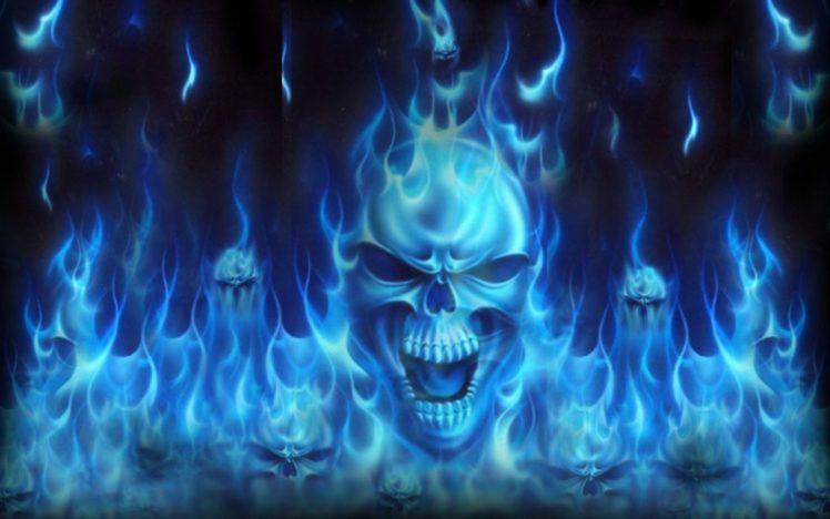 skulls dark abstract flames