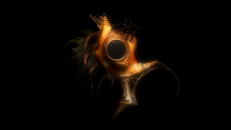 steampunk mechanical mask dark