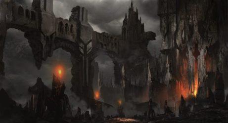 fantasy Art Landscapes Decay Ruins Castle Fire Dark Horror Wallpapers HD / Desktop and Mobile Backgrounds