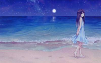Girl Beach Night Anime Wallpapers HD / Desktop and Mobile Backgrounds