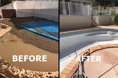 flooding pool 1 before after