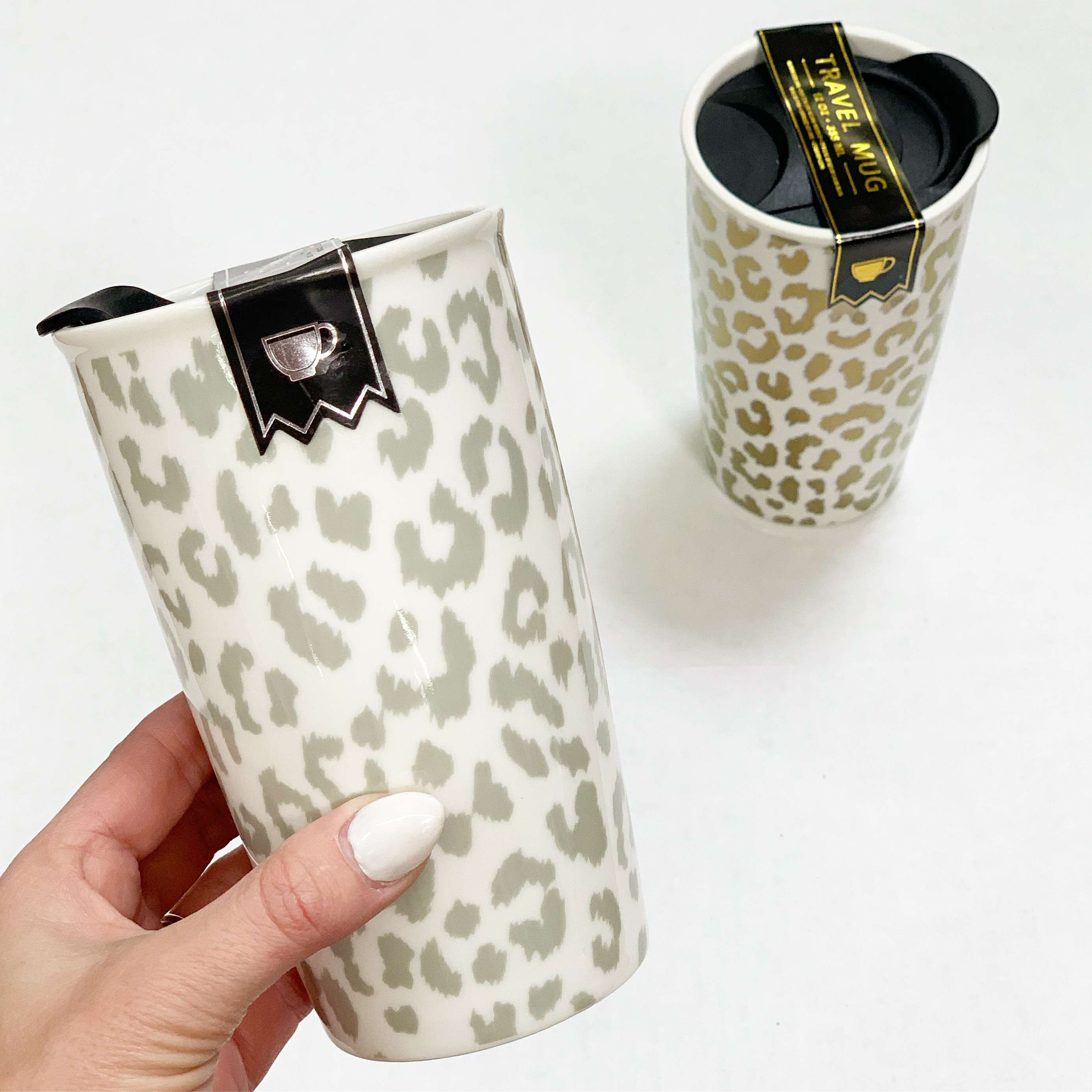 ceramic leopard print travel mug