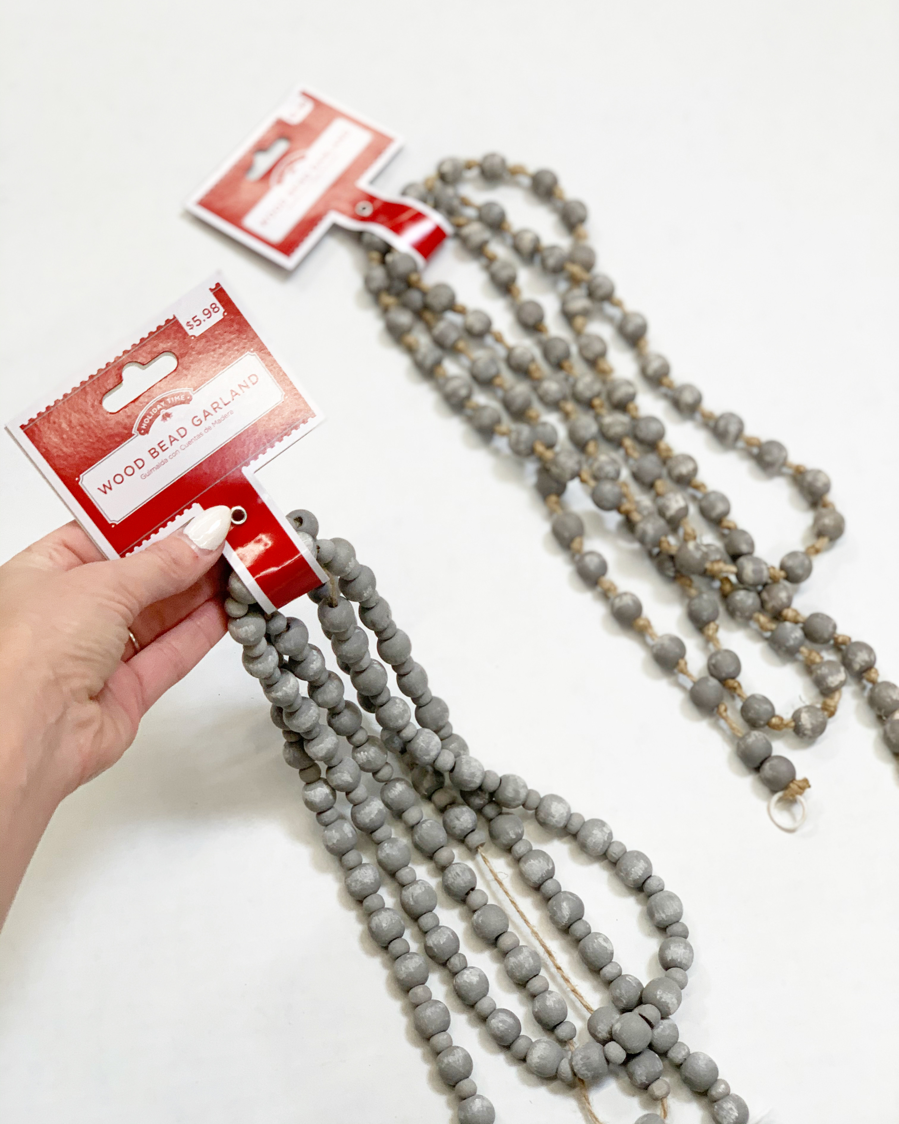 gray wood bead garland