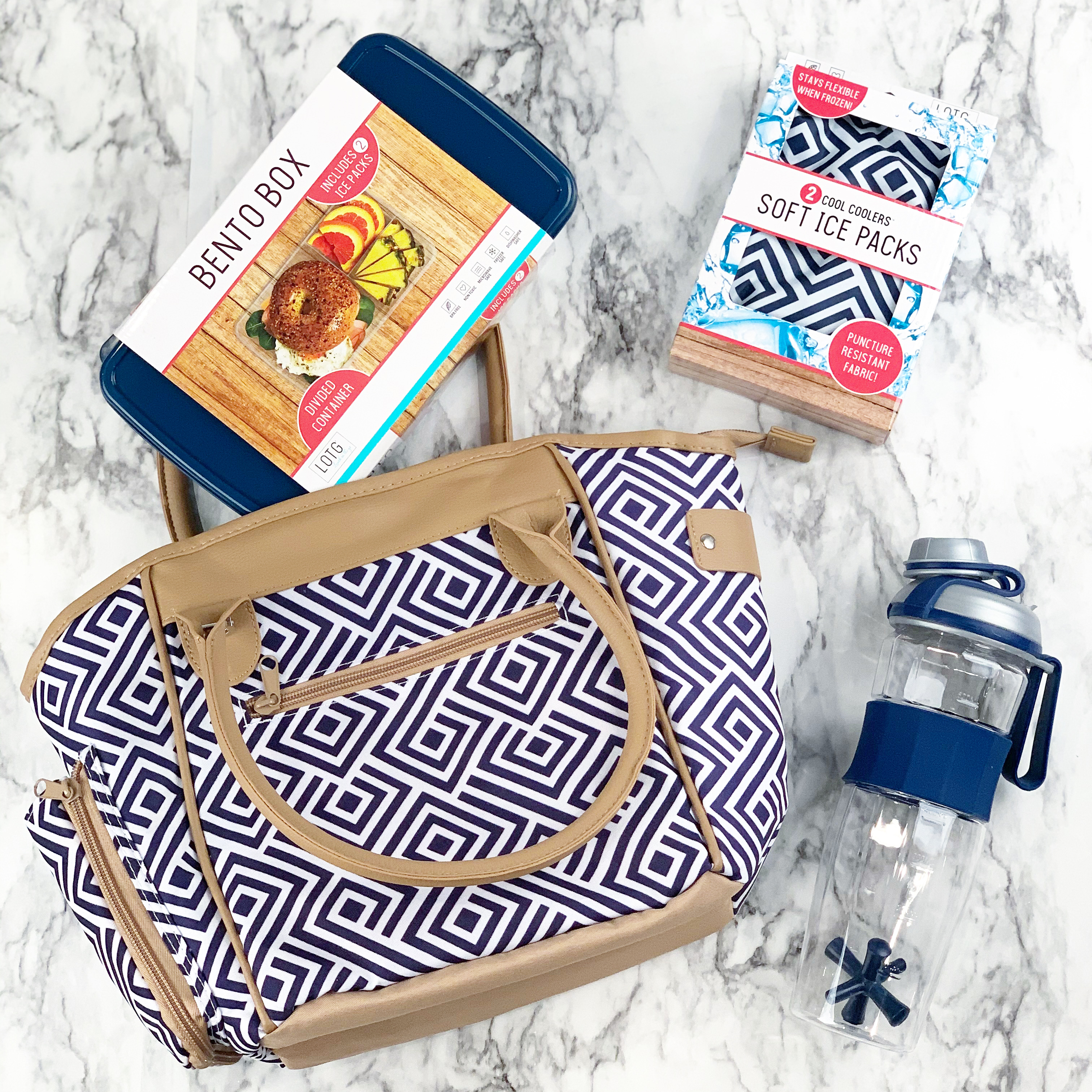 geometric print lunch tote with bento container and ice pack