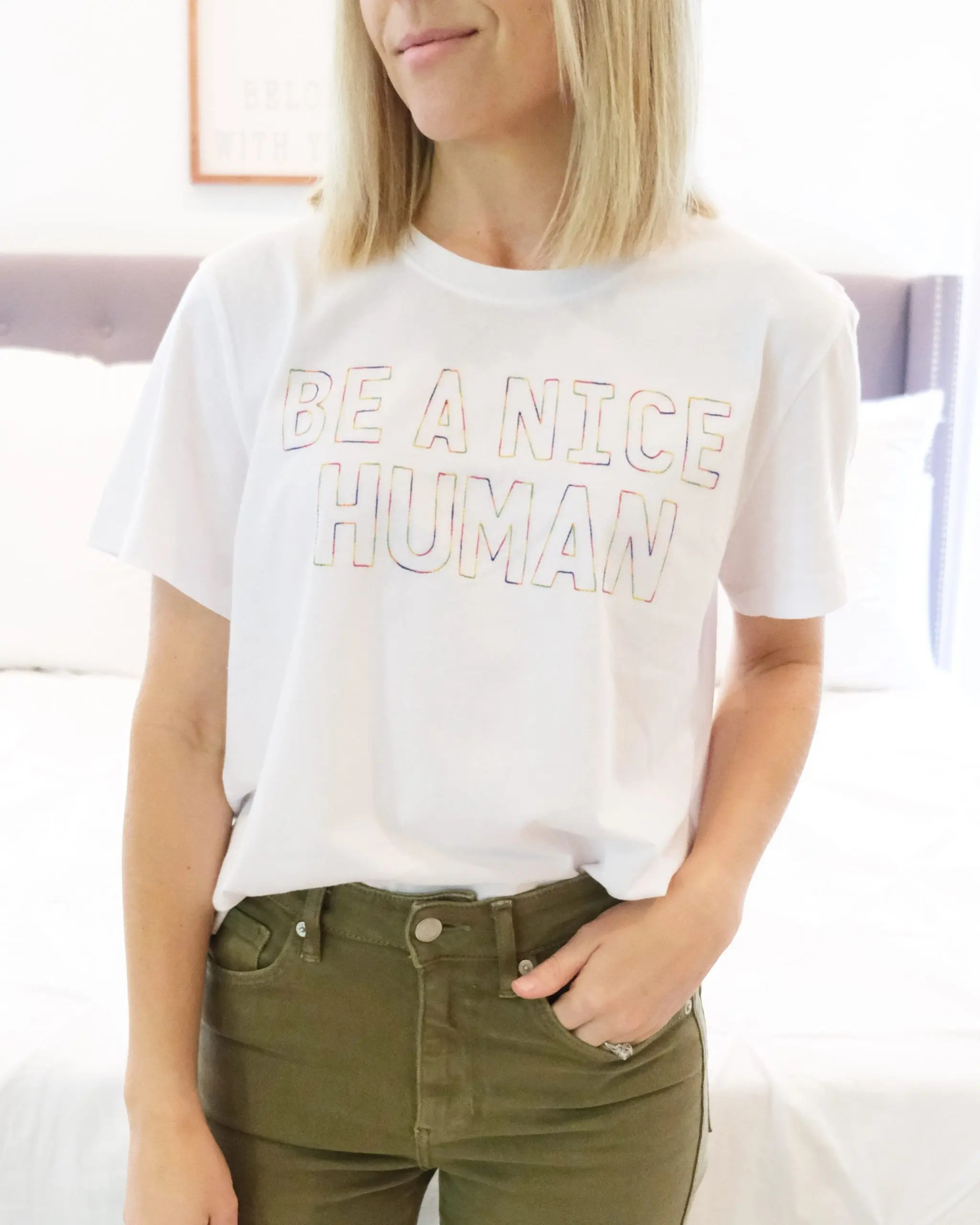 "time and tru ""be a nice human"" graphic tee"