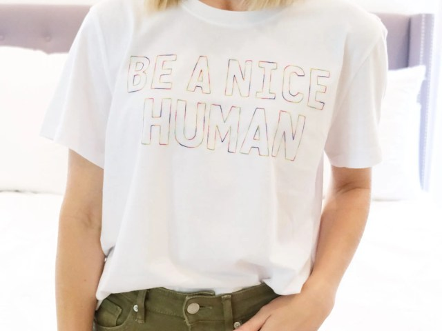 """Time and Tru """"Be A Nice Human"""" Graphic T-Shirt"""