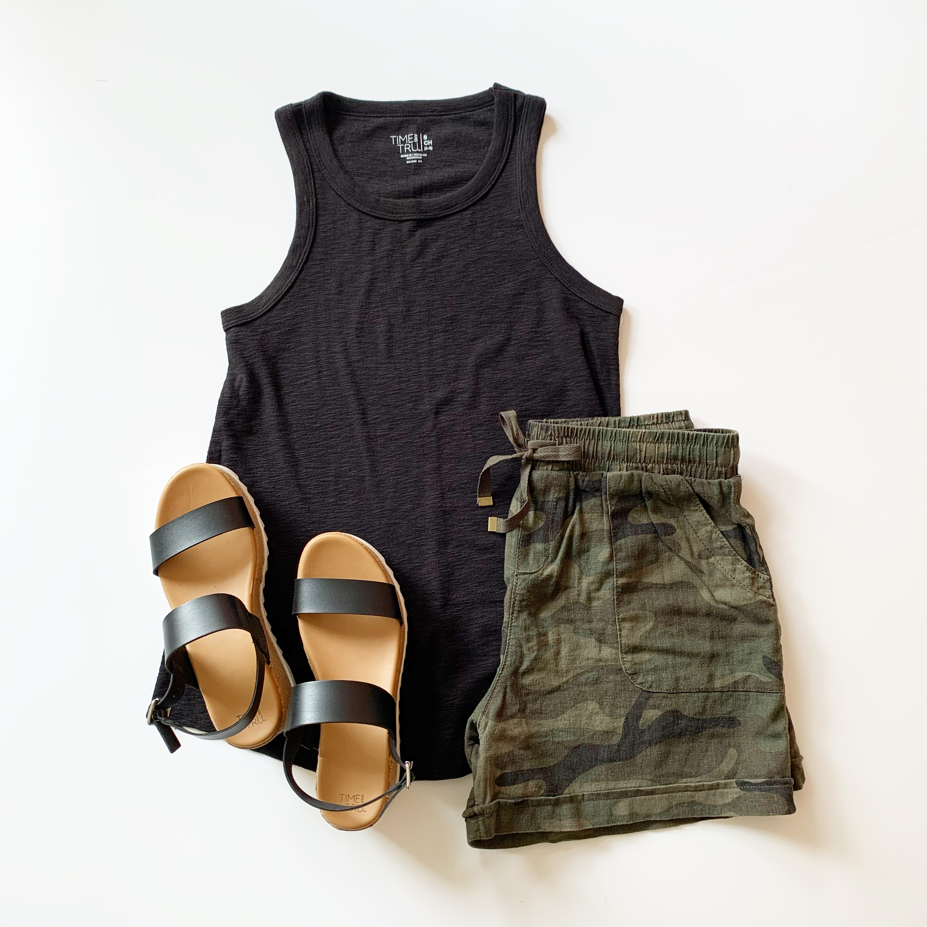 time and tru tank, camo linen shorts, and platform sandals