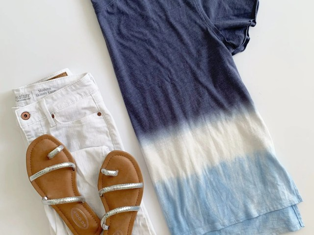 Time and Tru Dip Dye T-Shirt, Signature by Levi Strauss and Co. White Skinny Crop Jeans, and Scoop Strappy Sandals