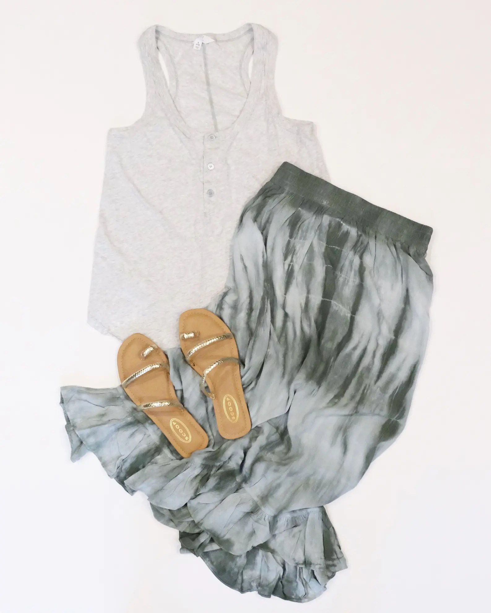 scoop tie dye skirt, scrappy sandals, and time and tru henley tank